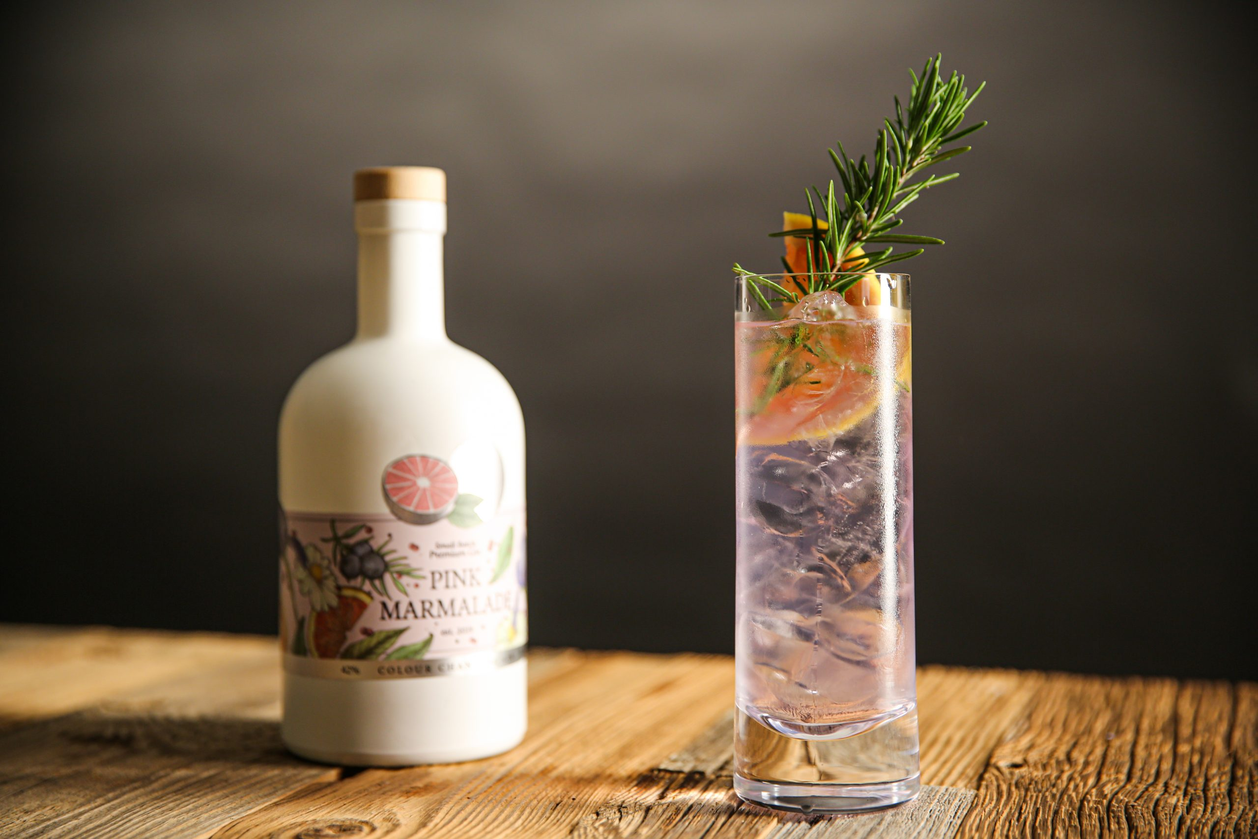 gin in highball glass on table