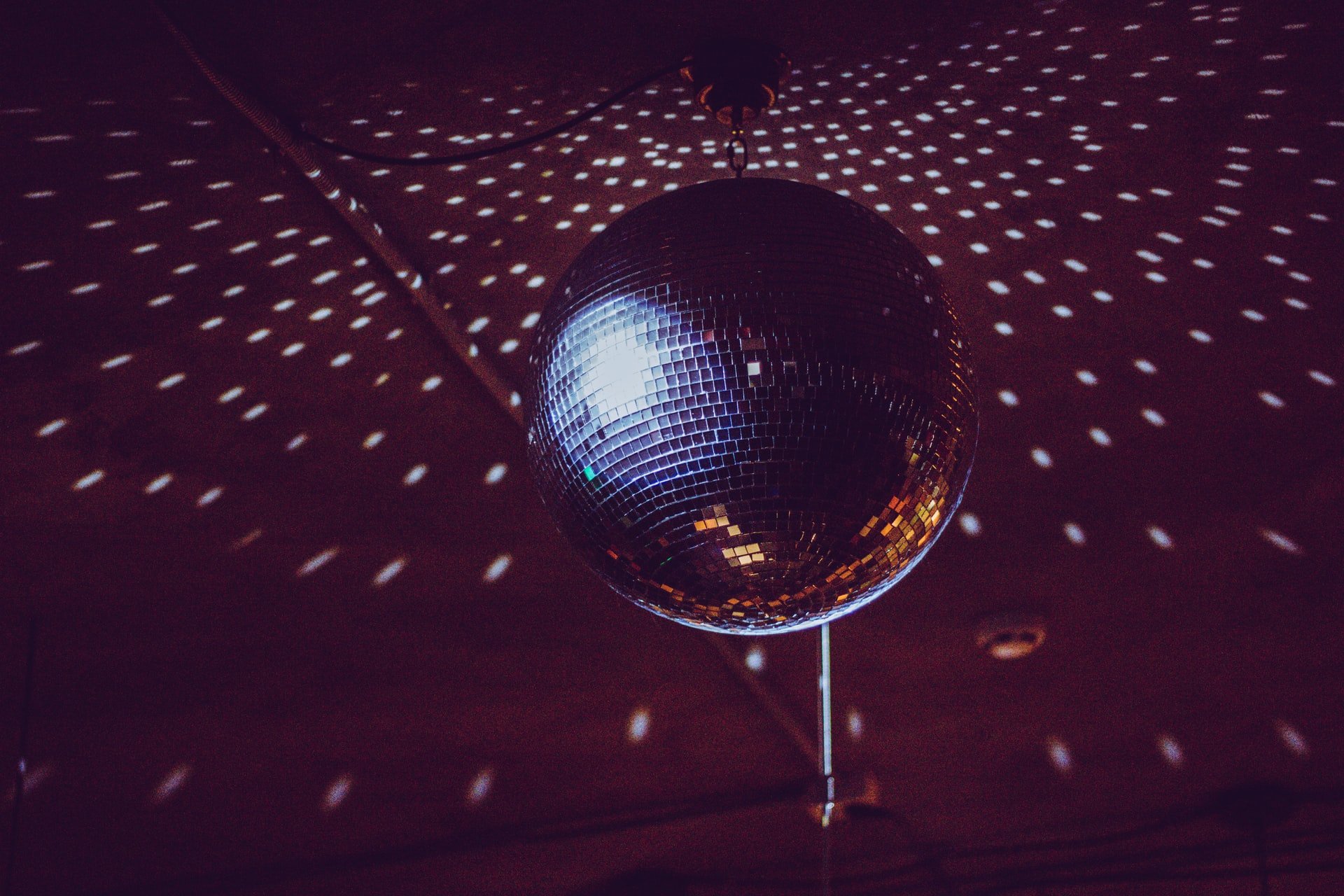 lights on a mirror ball and disco ball